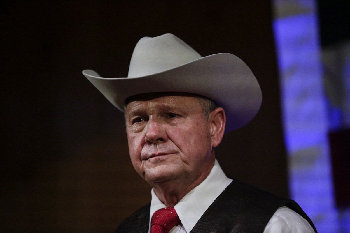 Former Alabama Chief Justice and U.S. Senate candidate Roy Moore speaks at a rally in Fairhope, Alabama — Monday, Sept. 25, 2017 (AP Photo/Brynn Anderson)