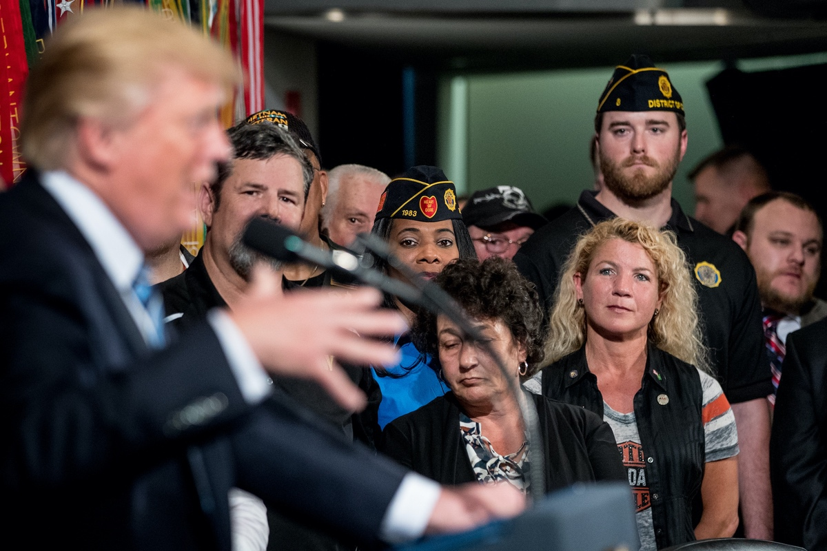 Veterans listen as President Donald Trump speaks before signing an Executive Order at the Department of Veterans Affairs, Thursday, April 27, 2017, in Washington. (AP Photo/Andrew Harnik)
