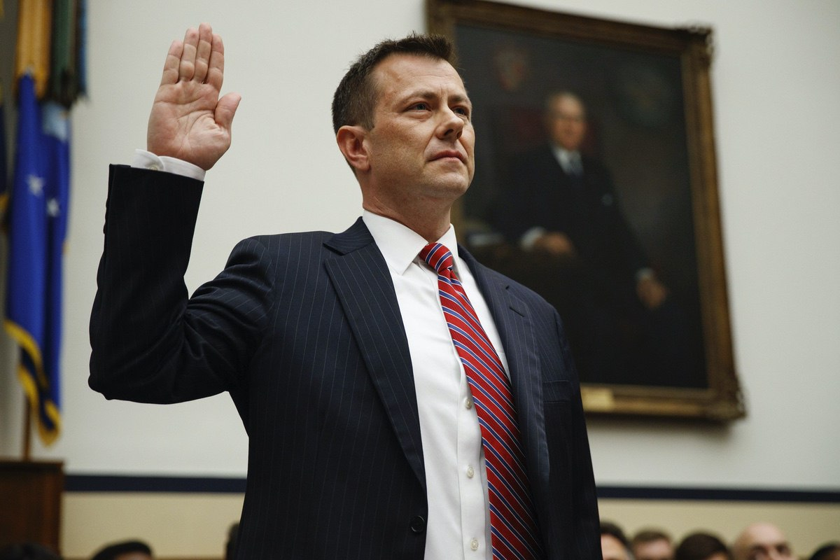 """FBI Deputy Assistant Director Peter Strzok is sworn in before the House Committees on the Judiciary and Oversight and Government Reform during a hearing on """"Oversight of FBI and DOJ Actions Surrounding the 2016 Election,"""" on Capitol Hill, Thursday, July 12, 2018, in Washington. (AP Photo/Evan Vucci)"""