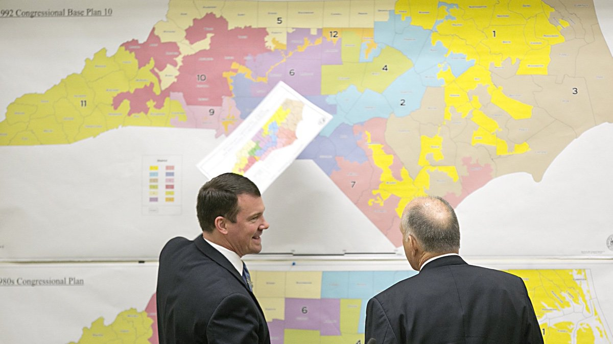 State Senators Dan Soucek, left, and Brent Jackson, right, review historical maps during The Senate Redistricting Committee for the 2016 Extra Session in the Legislative Office Building at the N.C. General Assembly on Tuesday Tuesday, Feb. 16, 2016, in Raleigh, N.C. (Corey Lowenstein/The News & Observer via AP)