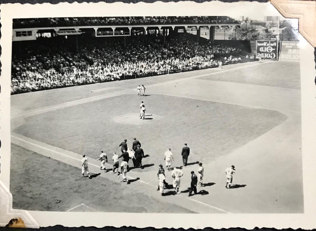 (Eileen W. Levine photo, Ebbets Field, Brooklyn, NY, 1948)