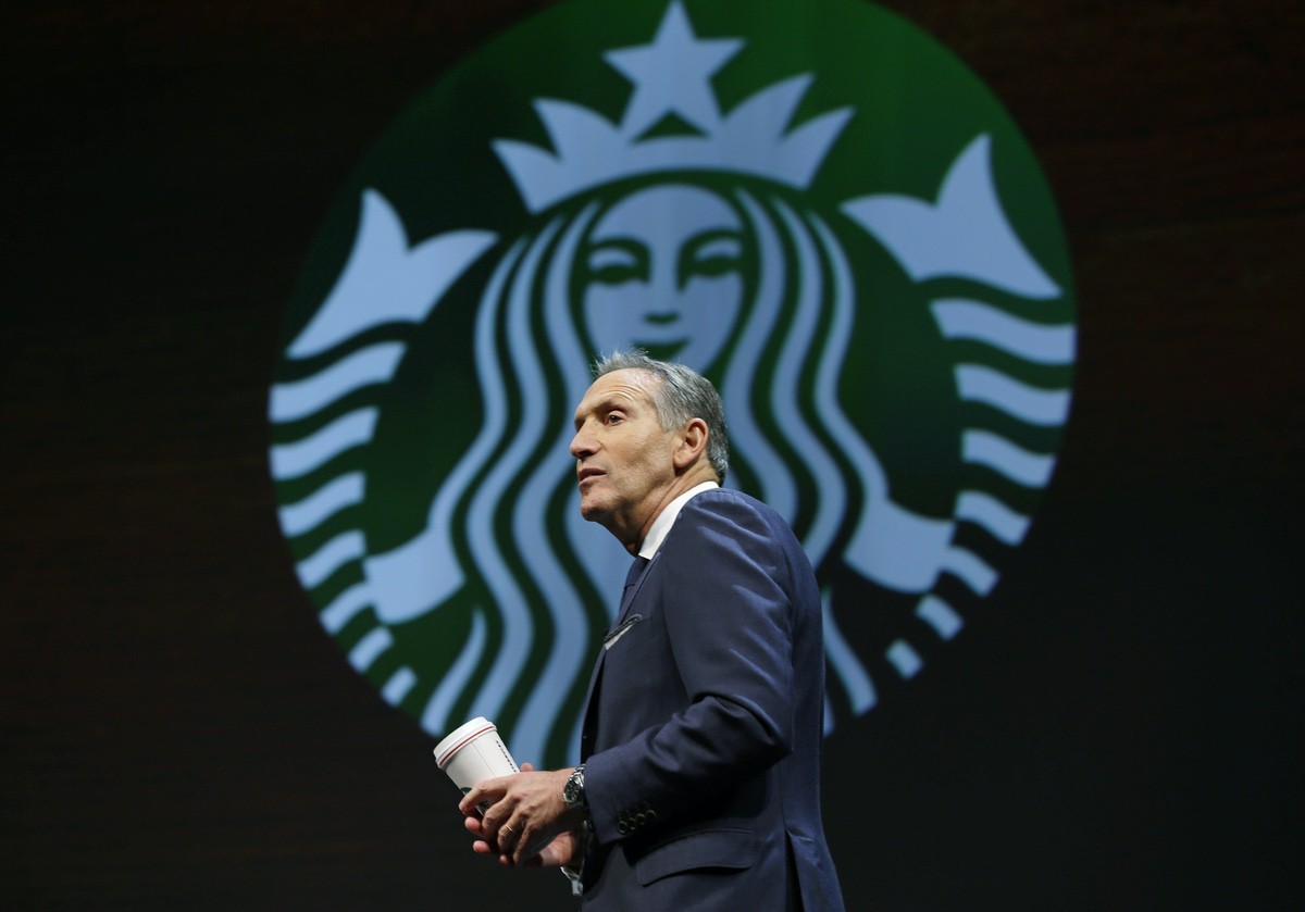 Then-Starbucks CEO Howard Schultz speaks Wednesday, March 23, 2016, at the coffee company's annual shareholders meeting in Seattle. (AP Photo/Ted S. Warren)