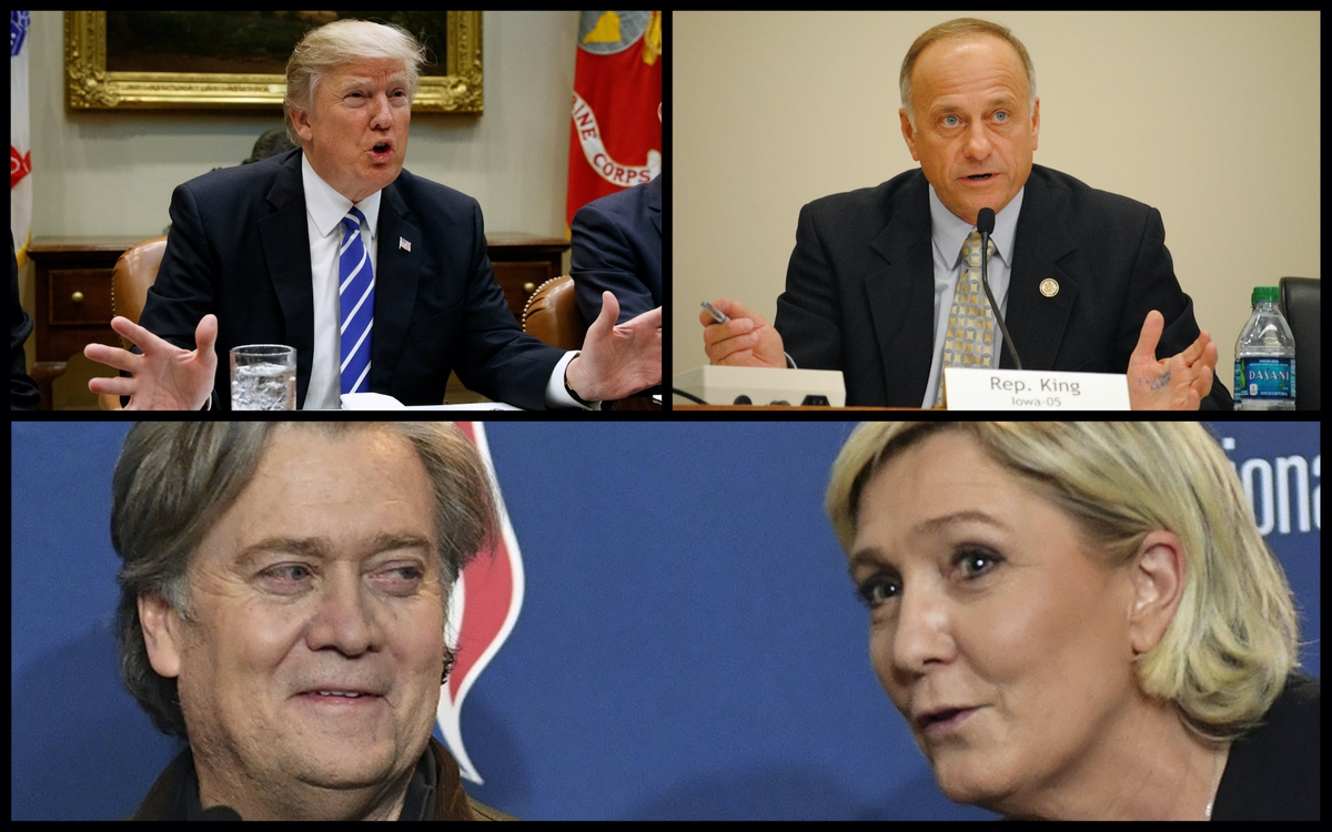 Donald Trump, Steve King, Steve Bannon, and Marine Le Pen (AP).