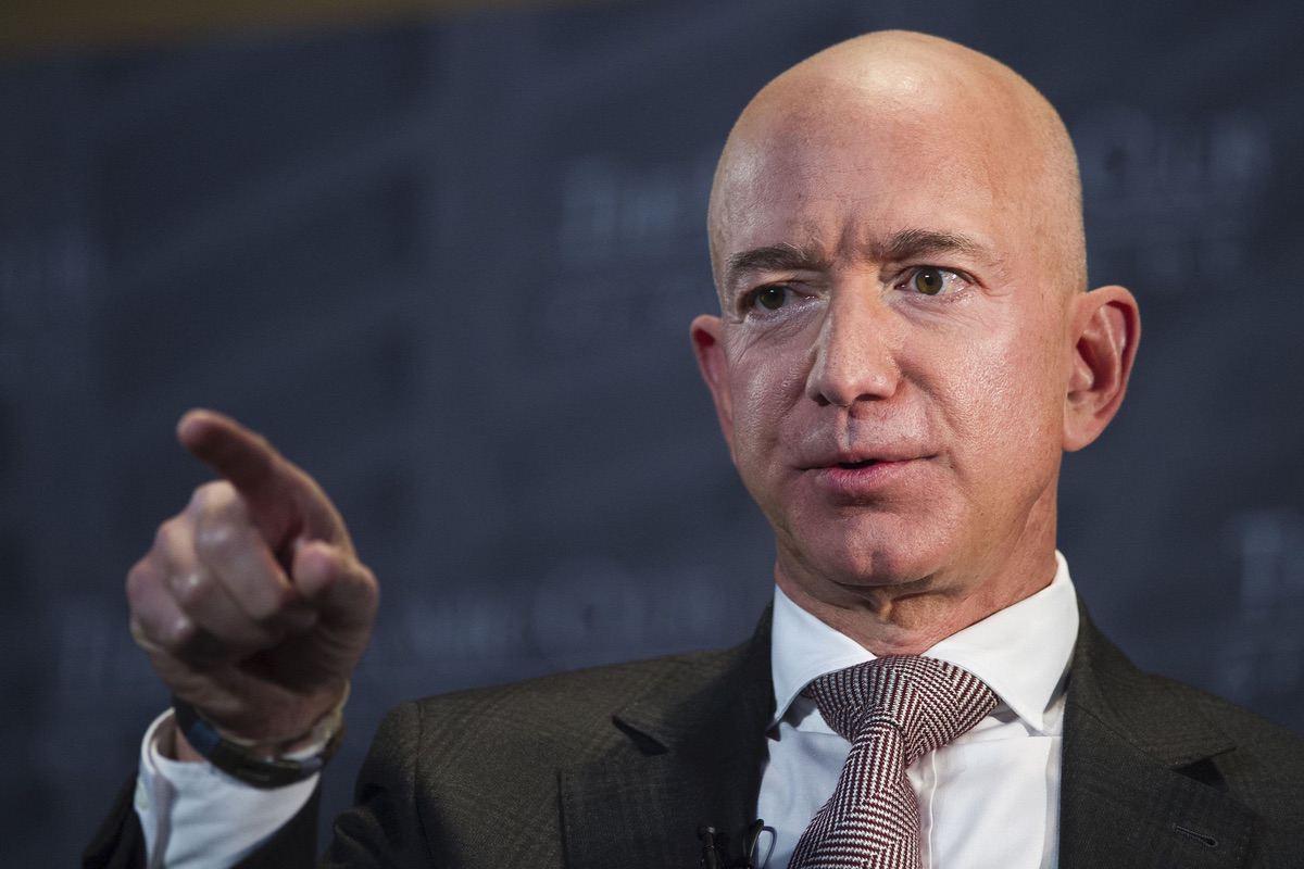 Jeff Bezos, Amazon founder and CEO, speaks at The Economic Club in Washington, Thursday, Sept. 13, 2018. (AP Photo/Cliff Owen)