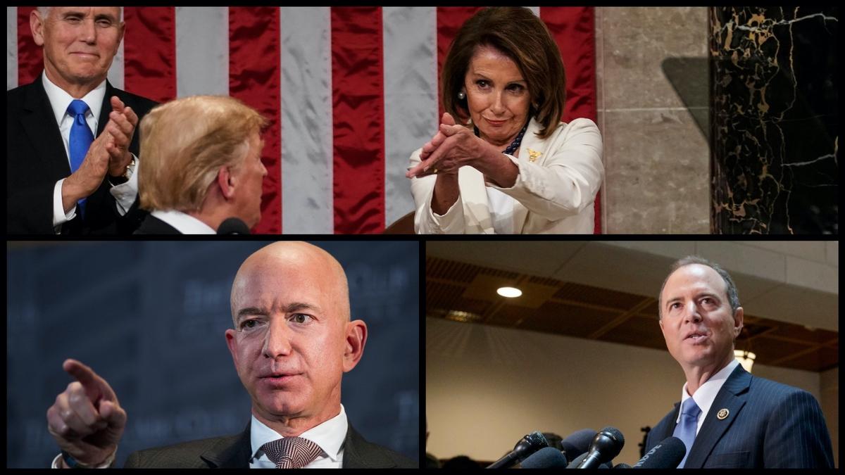 Mike Pence, Donald Trump, Nancy Pelosi, Jeff Bezos, and Adam Schiff (AP)